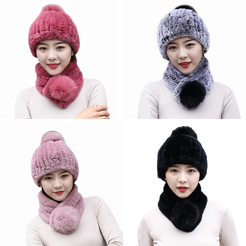 Women's Winter Fur Scarf And Hats For Christmas Sets Real Rex Rabbit Fur Warm Cap High Elastic Fluffy Soft