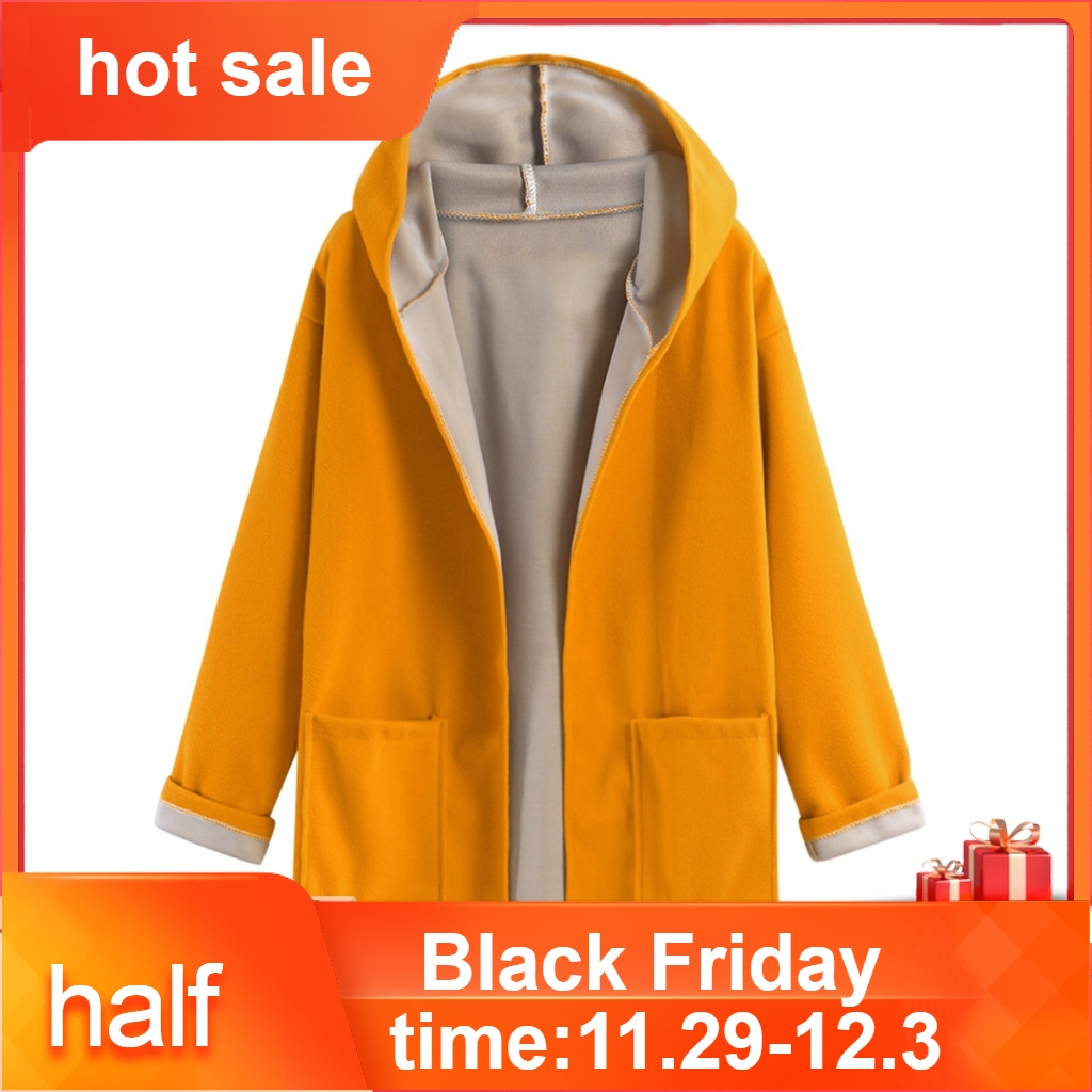 Autumn Winter Women's Woolen Jacket Plus Size Fahion Coat Jacket Medium Long Large Size Loose Front Open Coats Chaqueta Mujer40