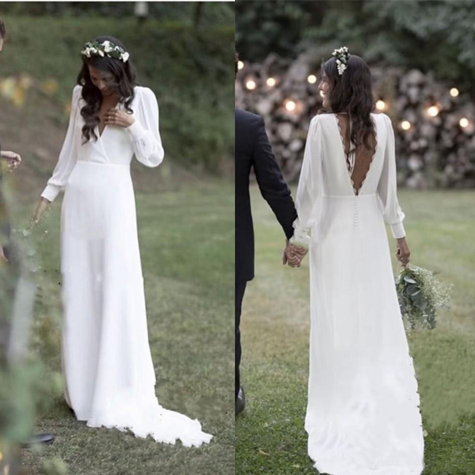 Bohemian White Wedding Dresses V Neck Backless Plus Size Sweep Train Chiffon Beach Garden Country Bridal Gowns Vestido De Novia