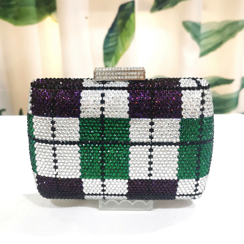 Bag For Women Crystal Evening Bag Geometric Grid Pattern Clutch Women Bags Novelty Casual Small Cocktail Dinner Bag-BeeInFly