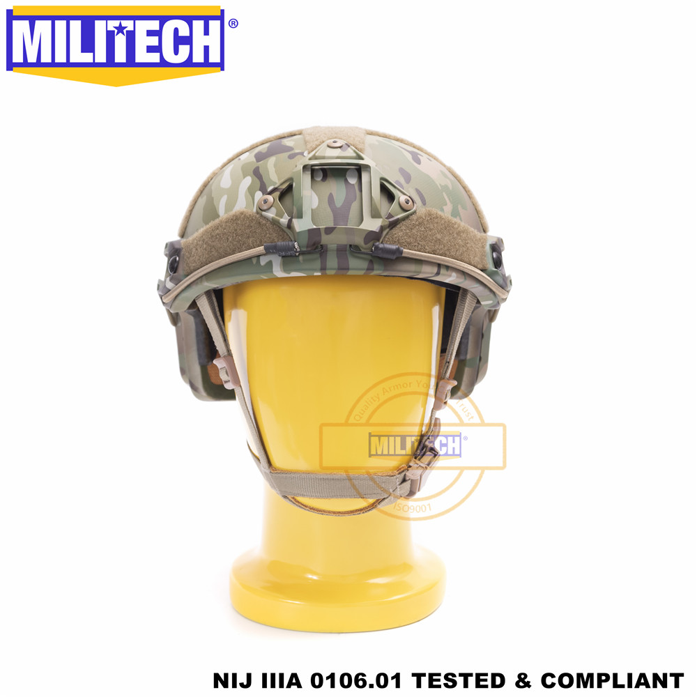 MILITECH Ballistischer Helm FAST MC Deluxe Wurmzifferblatt NIJ Level IIIA 3A Hochgeschnittener ISO-zertifizierter kugelsicherer Twaron-Helm DEVGRU