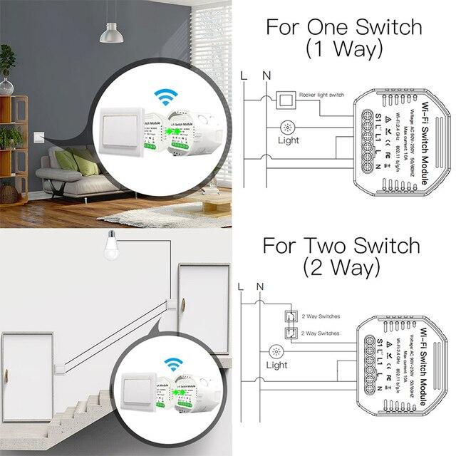DIY WiFi Smart Light Switch Module Smart Life Tuya Remote Voice Control 1/2 Way 1/2 Gang Dimmer Switch Breaker Google Home Alexa