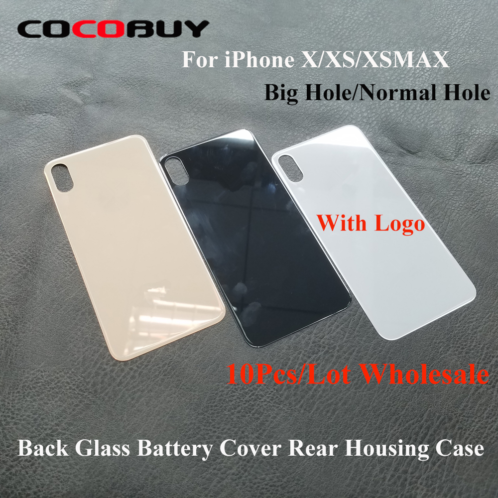 Wholesale 10pcs/lot Back Battery Cover Rear Door For Iphone X XS MAX Glass Back Cover Case With Big/Normal Hole