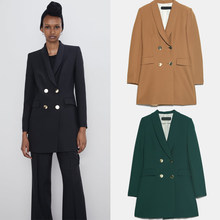 ZA Solid Double-Breasted Blazer 2019 Trendy Autumn Winter England Elegant Women Blazers Party Travel Friends Gifts Wholesale(China)