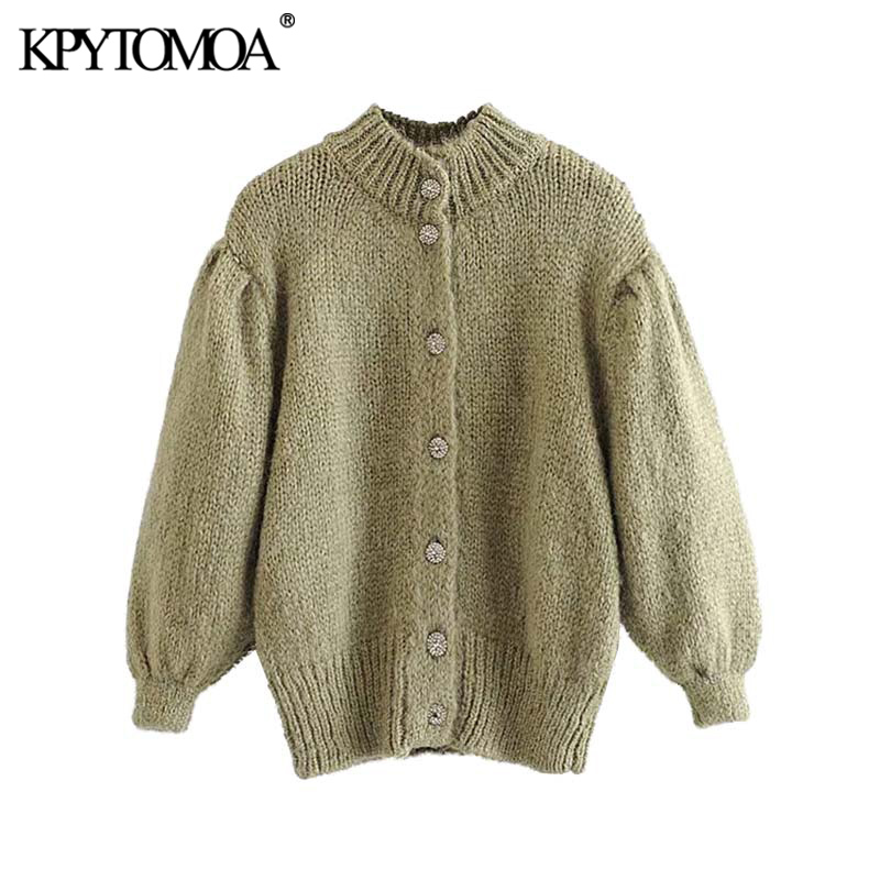 Vintage Elegant Jewel Buttons Knitted Cardigans Sweater Women 2020 Fashion Three Quarter Sleeve Female Outerwear Chic Tops