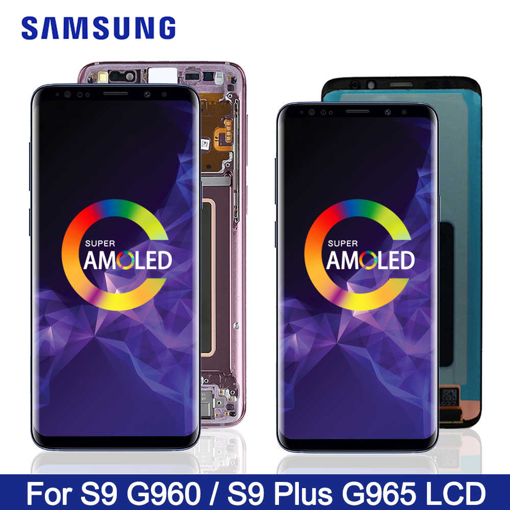 ORIGINAL AMOLED Ersatz Für Samsung Galaxy S9 S9 + LCD Touch Screen Digitizer S9 G960 S9 Plus G965 display mit rahmen