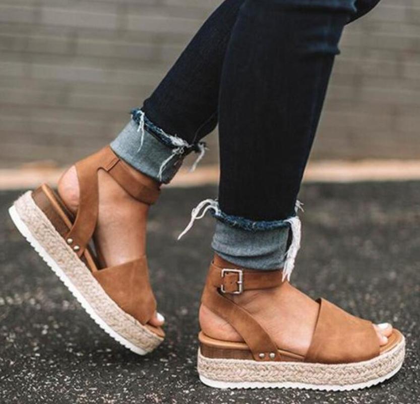 City Classified Perforated Peep Toe Chunky Heel | Stylish