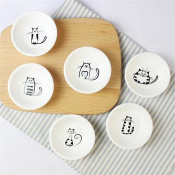 6Pcs/set Cute Cat Mini Heart Shaped Pigments Ceramics Soy Dish Sauce Vinegar Jam Dishes Kitchen Small Plate Set Tableware Gifts