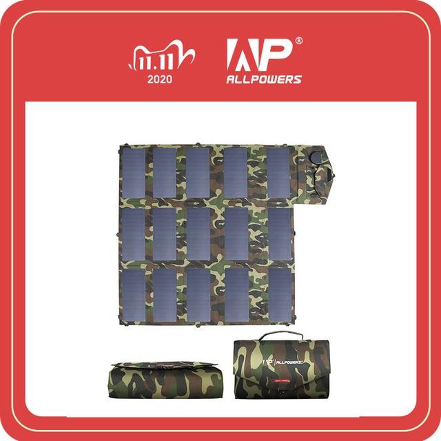 ALLPOWERS 18V100W kolor kamuflażu przenośna ładowarka solarna składany Panel słoneczny na zewnątrz Laptop telefon komórkowy