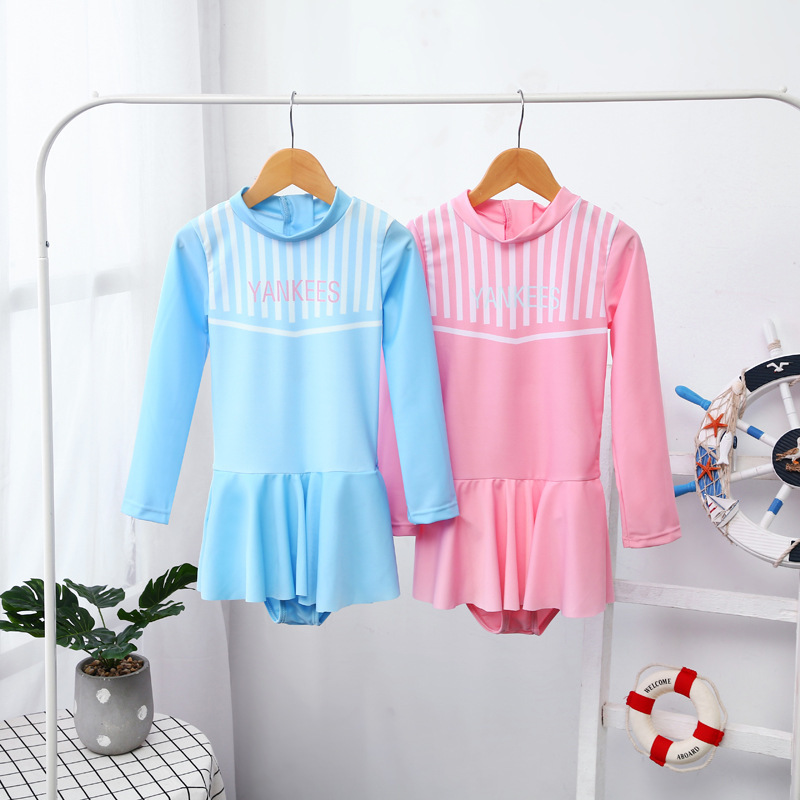 Korean-style Girls Siamese Swimsuit Sweet Candy-Colored Sports Conservative Outdoor Sun-resistant Swimwear Children GIRL'S Skirt