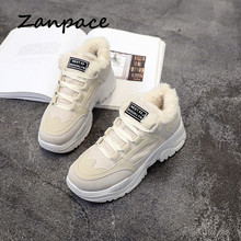 Купить с кэшбэком ZANPACE Women Casual Sneakers Winter Warm Platform Woman Snow Boots Plush Fur Warm Women Shoes Lace Up Spring Female Footwear