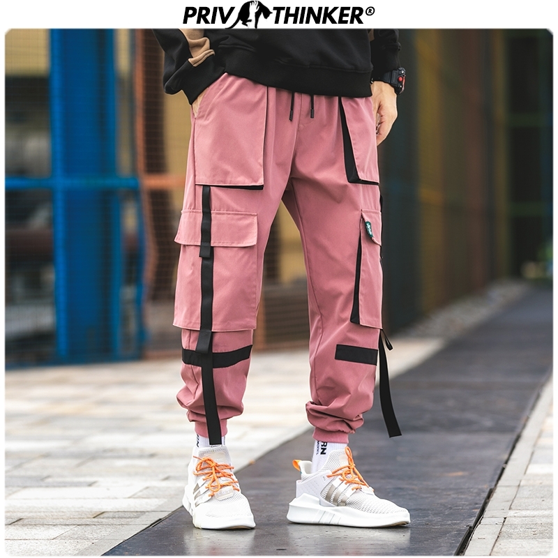 Privathinker Big Pocket Men JoggersPants 2019 Streetwear Hip Hop Man Harem Pants 5 Colors High Waist Women Baggy Cargo Pants
