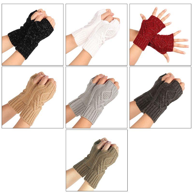 Female Winter Half Finger Computer Gloves Women Wild Knit Touch Screen Glove