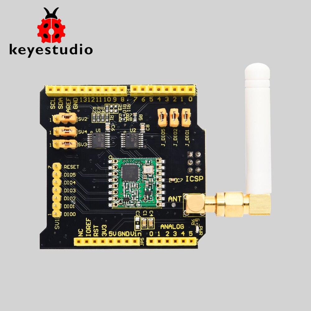 Беспроводной Щит Keyestudio FSK RFM69HCW 868 МГц, радиощит с антенной, совместимый с Arduino UNO, Leonardo, Mega и DUE