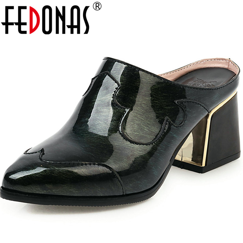 FEDONAS Sexy PU Quality Women Shoes Night Club Pointed Toe Mules High Heels Pumps Spring Summer Show Off New 2020 Shoes Woman