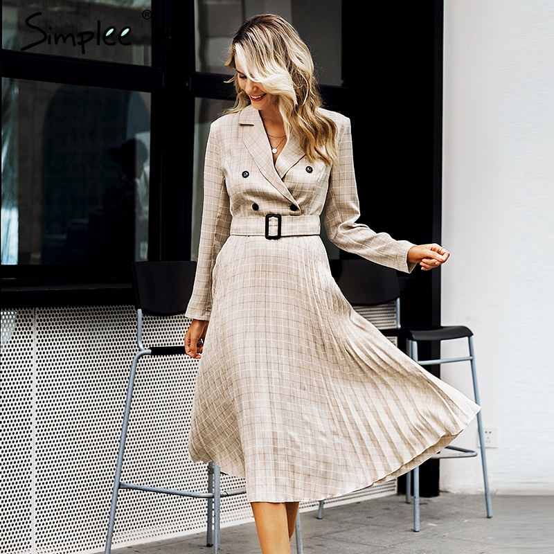 Simplee A-line v-neck blazer women midi dress Elegant long sleeve button sash female blazer dress Pleated office ladies dress 3
