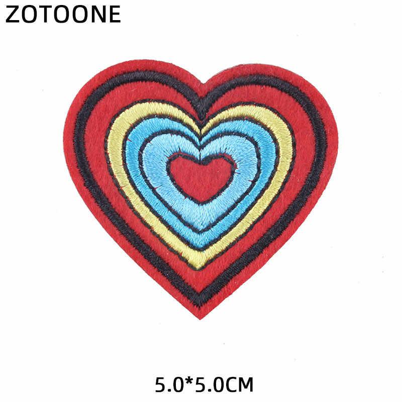 ZOTOONE Colorato Fiore Del Cuore Adesivi di Patch Ferro sul Toppe e Stemmi per Abbigliamento T-Shirt di Trasferimento di Calore Accessori Fai Da Te Appliques G