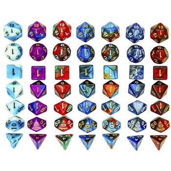7 sztuk zestaw DND kości mieszane kolor kości wielościenne gry kości dla RPG Dungeons and Dragons gry planszowe D amp d akcesoria do gier planszowych tanie i dobre opinie ZSY018 Cyfrowy kości DICE 7pcs set