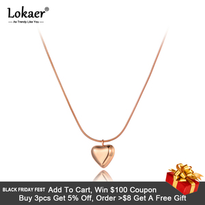 Lokaer Romantic Titanium Stainless Steel Lovely Heart Charm Necklaces Jewelry 3D Pendant Snake Chain Necklace For Women N20129