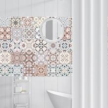 Pegatinas de mosaico de estilo árabe para sala de estar, cocina, Retro, 3D, impermeable, Mural, calcomanía, decoración de baño, papel tapiz adhesivo DIY