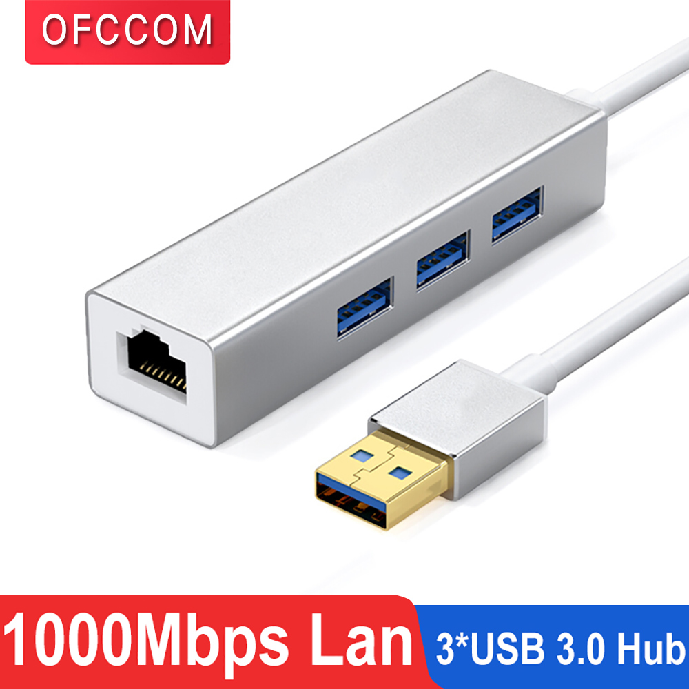 OFCCOM USB Ethernet USB 3.0 2.0 To RJ45 Hub 10/100/1000M Ethernet Adapter Network Card USB Lan For Macbook Windows