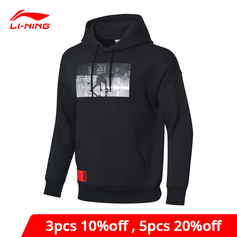 Li-Ning Men BAD FIVE Basketball Sweater 66% Cotton 34% Polyester LiNing Li Ning Sports Hoodies Loose Fit Sweater AWDP053 MWW1535