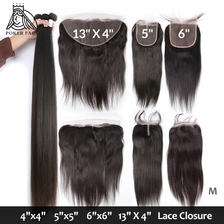 8-28 30 40 Inch Straight Hair Bundles With Closure Brazilian Human Hair Weave 3 4 Bundles And Lace Closure Non-Remy Medium Ratio