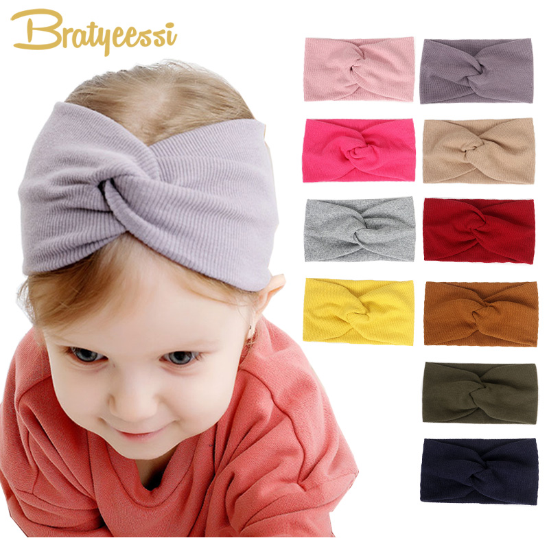 2019 Fashion Baby Girl Headbands Cotton Infant Turban Hair Accessories Wild Cross Baby Headband For Girls Headwear 13 Colors
