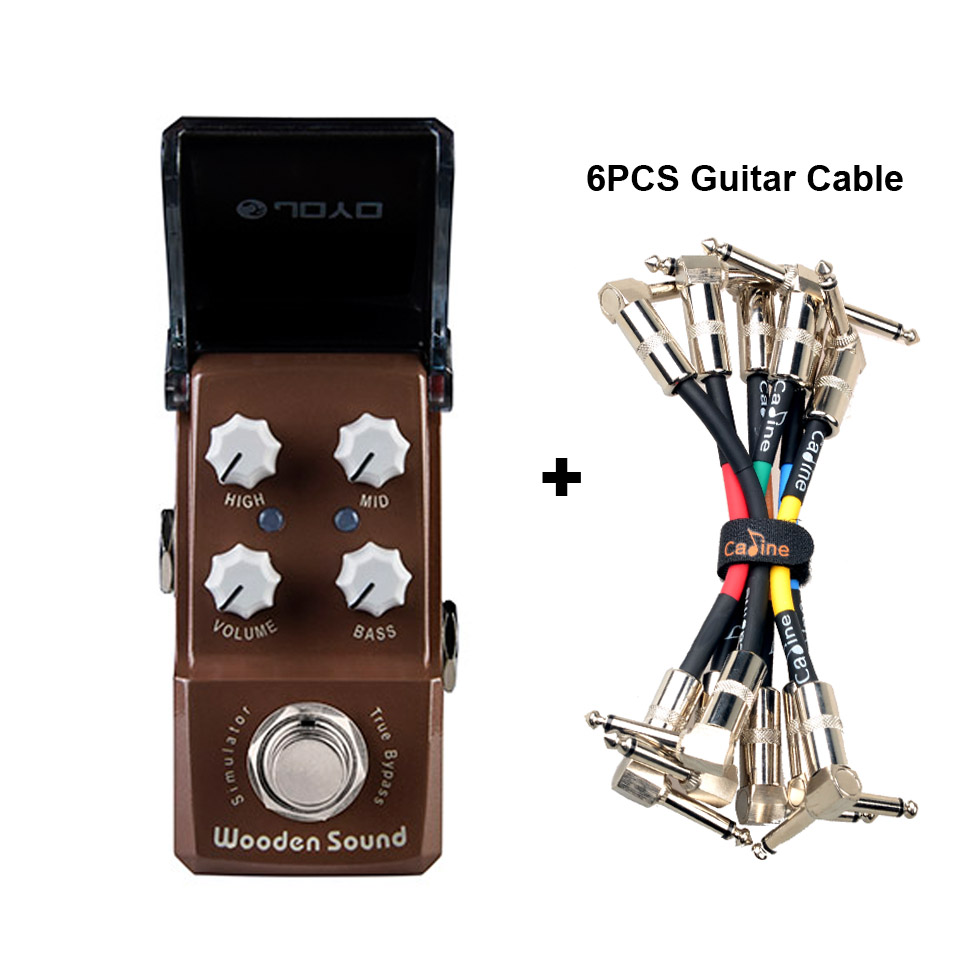 JOYO JF-323 en bois son acoustique simulateur guitare effet pédale Mini véritable dérivation guitare accessoires et guitare câble connecteur