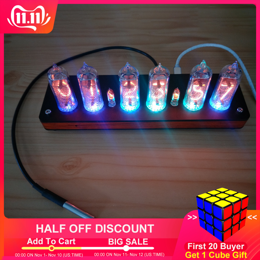 IN14 Glow Tube Clock GPS Time Calibration Clock Infrared Remote Control Glow Clock With Wooden Shell