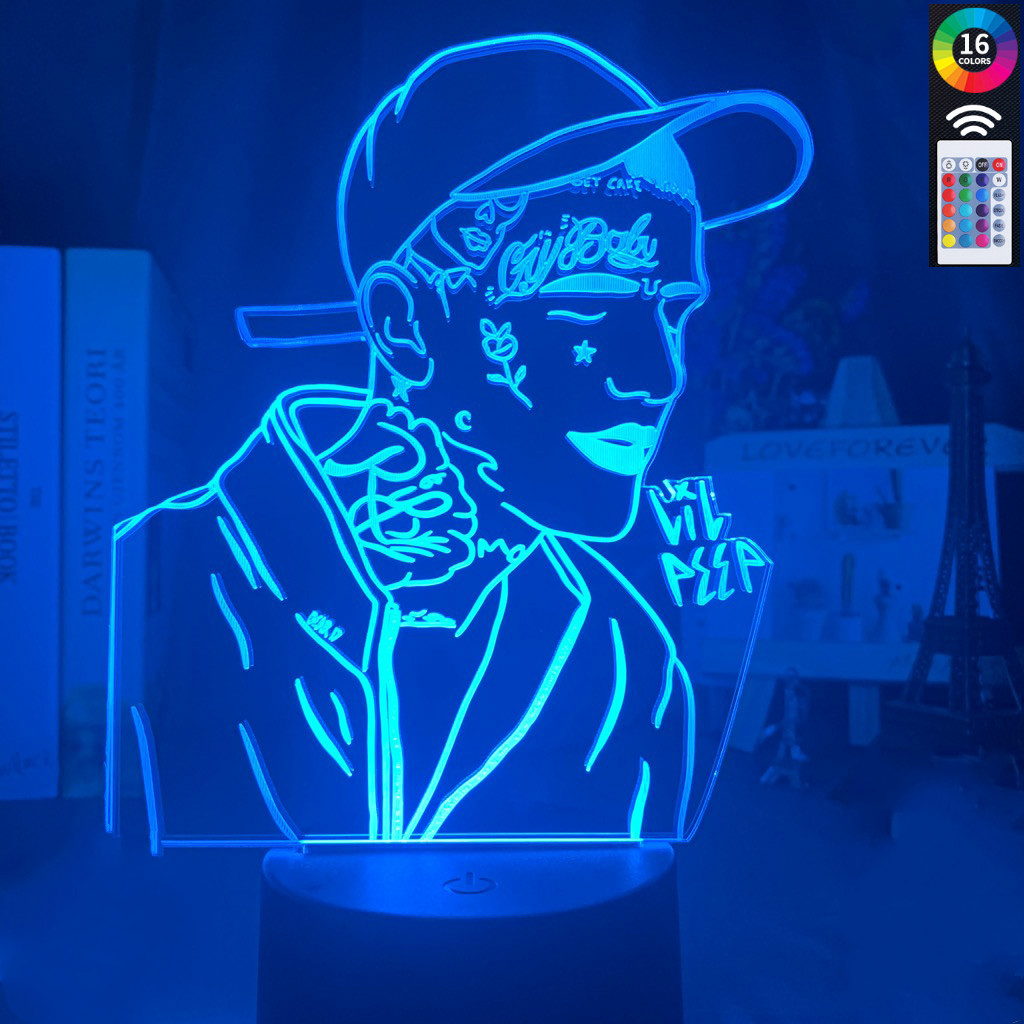 3D Decoration Lamp American Rapper Lil Peep Led Night Light Colorful Nightlight Gift For Fans Dropshipping 3d Lamp Celebrity