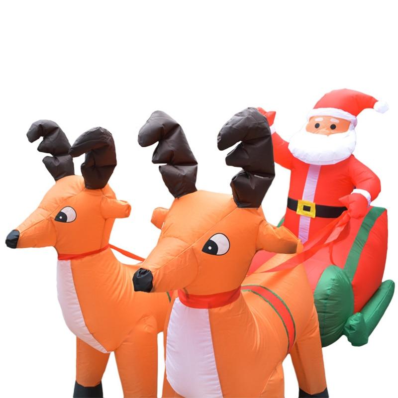 Eu Plug Kerst Opblaasbare Herten Winkelwagen Kerst Dubbele Herten Winkelwagen Kerstman Kerst Dress Up Decoraties Welkom Rekwisieten - 3