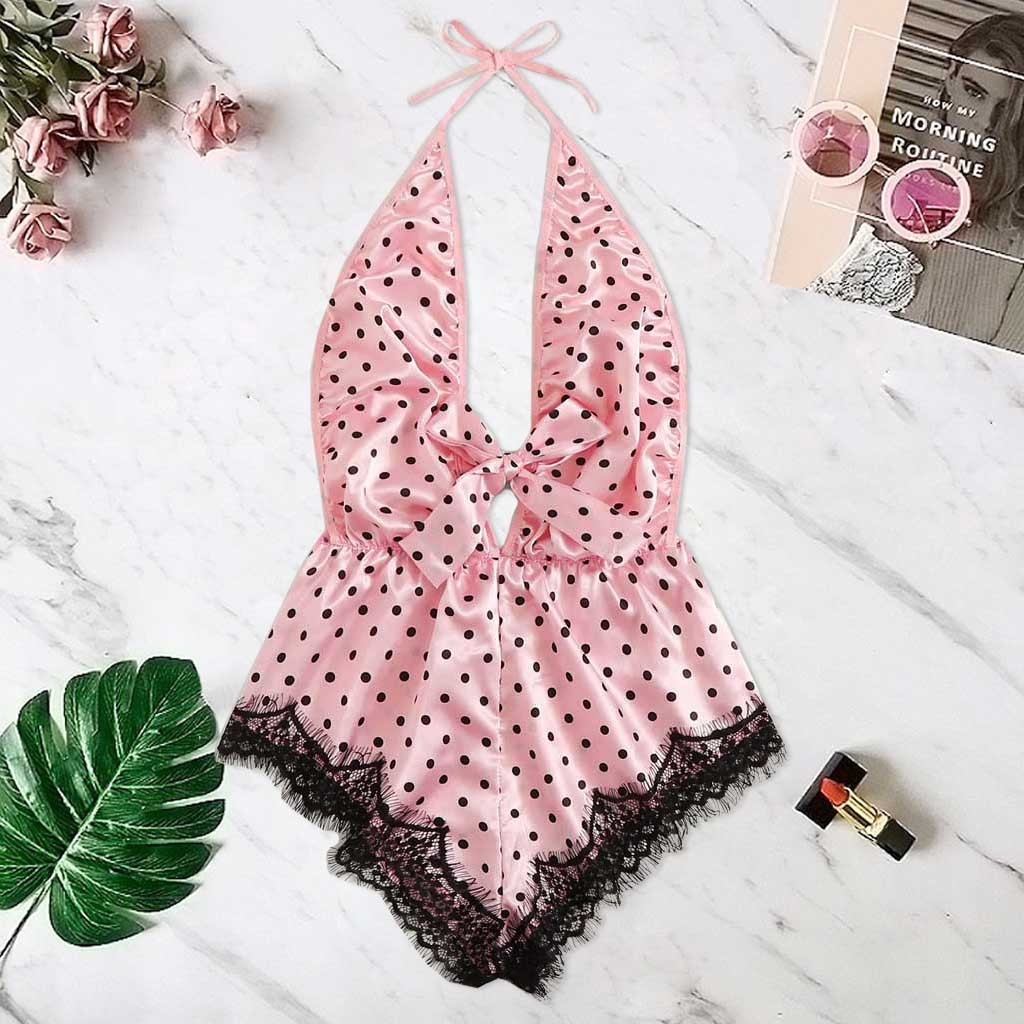 Women Print Lace Stain Sexy Lingerie Bowknot Backless Pajamas Silk Teddy Summer Casual Vintage Sleepwear Nightwear Pijama Mujer