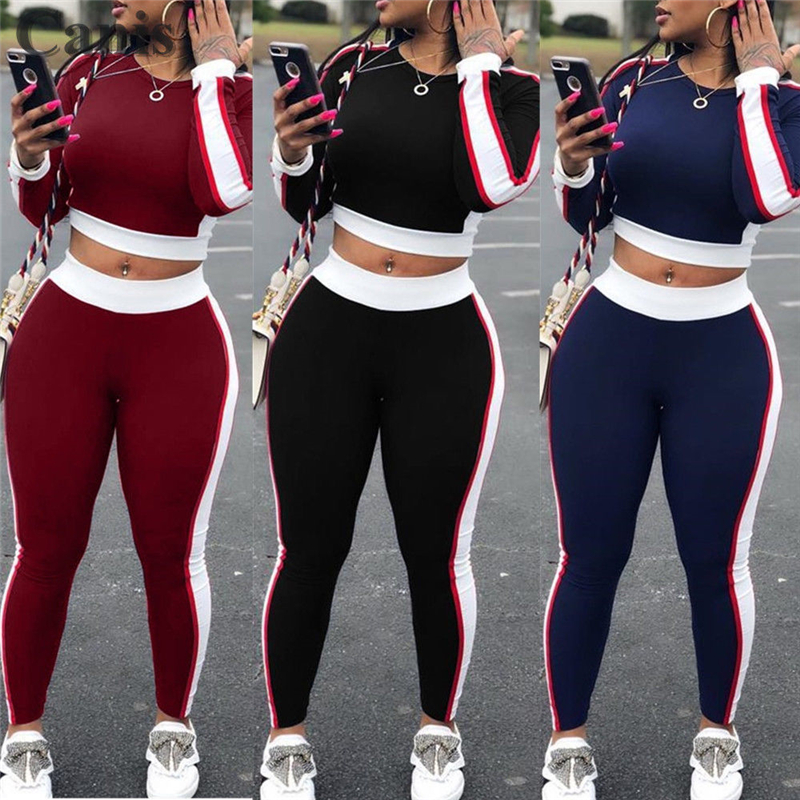2 Pieces Yoga Set Women Sexy Outfits Long Sleeve Crop Tops Pants Workout Gym Sports Fitness Athletic Tracksuit Clothes