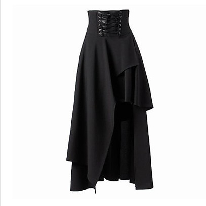 Halloween Masquerade Party Women Irregualr Bandage Medieval Pleated Skirt Gothic Steampunk Horror Lolita Bottoms Costumes