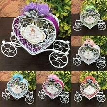 Милый милый симпатичный Экипаж Золушки разработан полые коробки для конфет шоколада День рождения Свадебные сувениры Декор 6 цветов коробка конфет