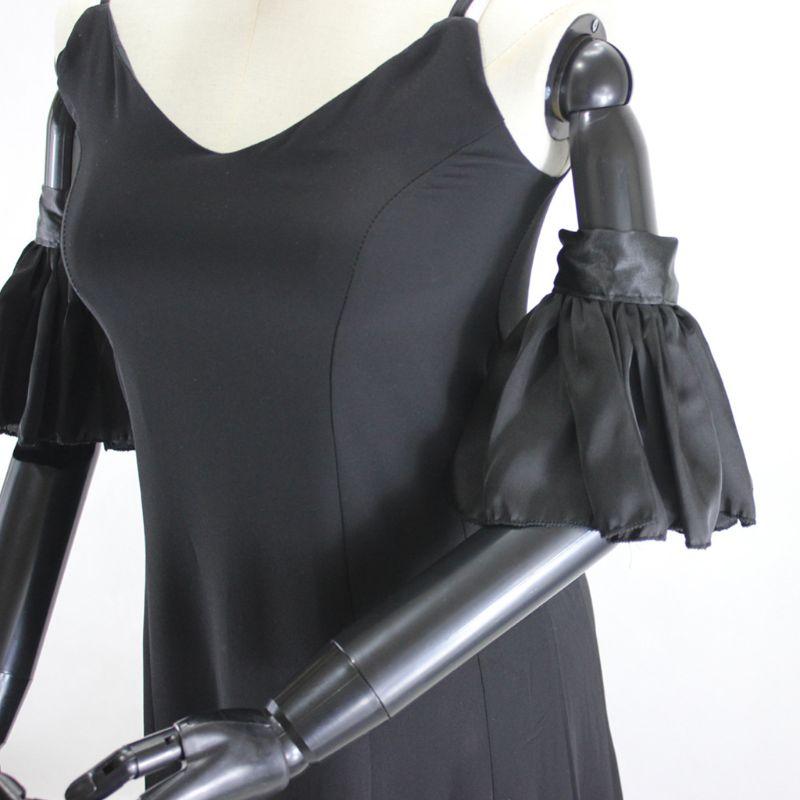 1Pair Wrinkled Pleated Flare Fake Sleeve Elastic Silk False Cuffs Women Decor LX9E