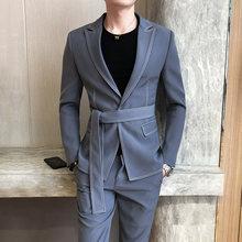 Fashion men's slim fit with belt one button blazers jacket