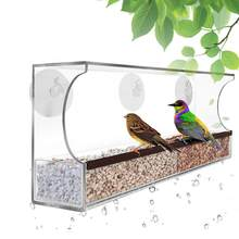 Acrylic Bird Parrot Feeding Device Cage Feeder Container with Suction Cup For Pet Supplies(China)