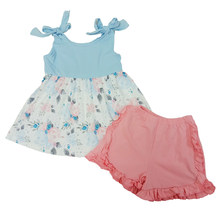 Characteristic Light Blue Floral Bandage Tunic Top With Pink Shorts Boutique Summer Baby Clothing Fashion Kids Outfit(China)