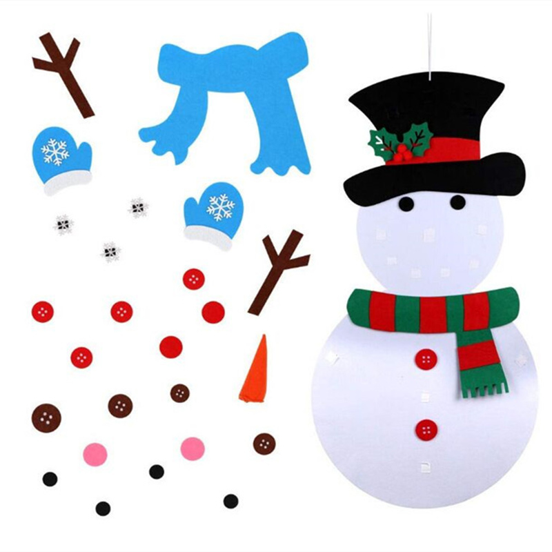 Kids Toys Christmas DIY Felt Christmas Cartoon Set With Stick-on Door Wall Hanging Decoration Xmas Gift Kids Puzzle Toy