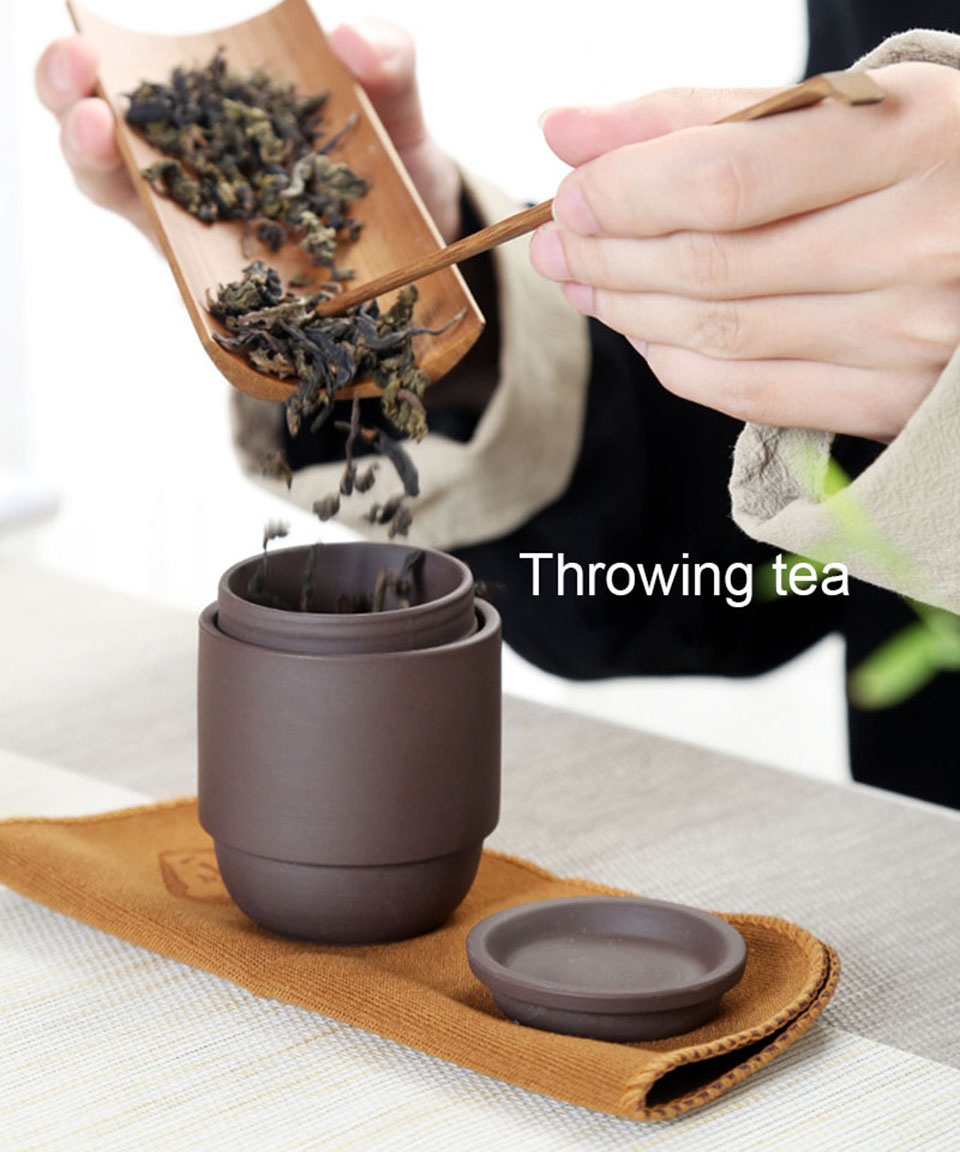 ICESTCHEF Ceramic Tea Set Porcelain Double Wall Cup Creative Teapot Kung Fu Tea Portable Travel Teaware Set With Travel Bag