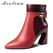 Meotina Winter Ankle Boots Women Natural Genuine Leather Super High Heel Short Snake Print Zipper Shoes Lady Autumn 34-39