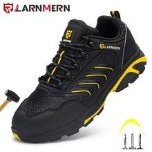 LARNMERM – chaussures de sécurité pour hommes, chaussures de travail confortables, légères, bout en acier, respirantes, antidérapantes, Construction Anti-écrasement