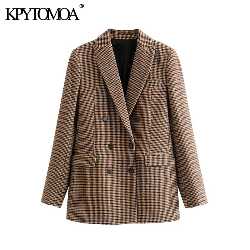 Vintage Stylish Double Breasted Houndstooth Tweed Blazer Coat Women 2019 Fashion Long Sleeve Office Wear Outerwear Chic Tops