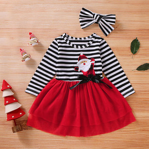 Toddler Baby Girls Christmas Santa Striped Print Tulle Dress+Headband Outfits Princess Party Dress Infantil Children Kids Suit