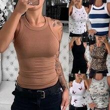Camiseta de algodão feminino nova casual selvagem sem mangas camisetas de tanque básico t camisa de verão em torno do pescoço malha superior preto