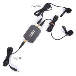 CoMica CVM-D03 STC Microphone Omni-directional Dual Head Lapel Detachable Clip-on Power Bank Charging for Smartphone/Computer
