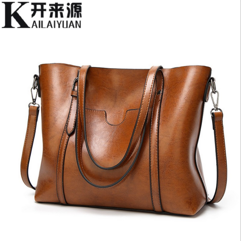 100% Genuine Leather Women Handbags 2019 New Classical Wind Portable Big Bag Shoulder Bag Temperament Female Tote Bag
