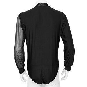 Image 3 - Mężczyźni Shiny Latin Dance koszule Top gimnastyka trykot body męskie jednoczęściowy brokat Ballroom Tango współczesny taniec strój